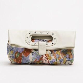 Wa Obi 'Abby' White Leather and Fabric Foldover Clutch