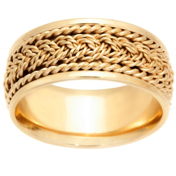 14k Yellow Gold Braided Design Comfort Fit Men's Wedding Bands. Opens flyout.
