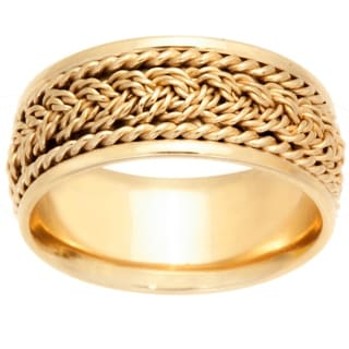 14k Yellow Gold Braided Design Comfort Fit Men S Wedding Bands