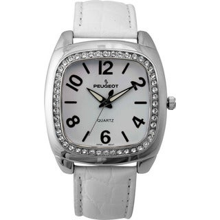 Peugeot Women's 310WT Crystal Accent Bezel White Leather Strap Watch