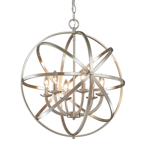 Avery Home Lighting Aranya 6 Light Brushed Nickel Chandelier
