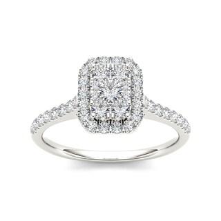De Couer 10k Gold 3/4ct TDW Diamond Emerald Shape Composite Engagement Ring (More options available)