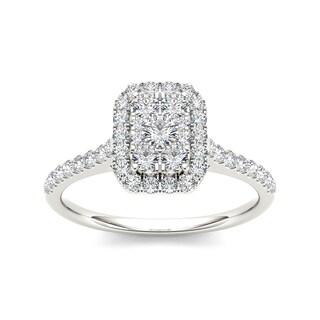 De Couer IGI Certified 10k Gold 3/4ct TDW Diamond Emerald Shape Composite Engagement Ring