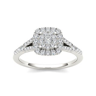 De Couer 10k White Gold 1/2ct TDW Diamond Cushion Shape Engagement Ring (H-I, I2)