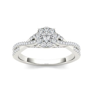 De Couer 10k Gold 1/2ct TDW Diamond Halo Engagement Ring