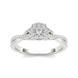 De Couer IGI Certified 10k Gold 1/2ct TDW Diamond Halo Engagement Ring