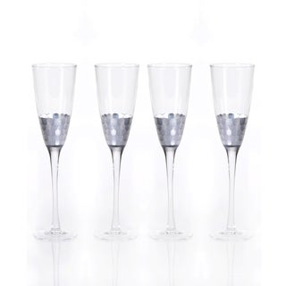 """Vitorrio"" Flute Champagne Glass, Silver (Set of 4)"