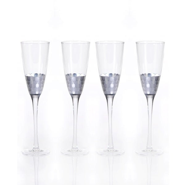 """Vitorrio"" Flute Champagne Glass, Silver (Set of 4)"