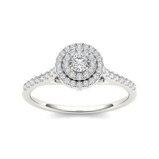De Couer 10k Gold 1/2ct TDW Diamond Crossover Shank Halo Engagement Ring