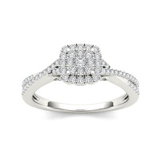 De Couer 10k Gold 1/2ct TDW Diamond Double Halo Crossover Engagement Ring