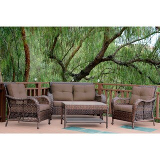 4-piece Resin Wicker Patio Conversation Set