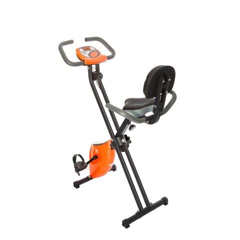 FitLife Orange Folding Upright Magnetic Resistance Exercise Bike