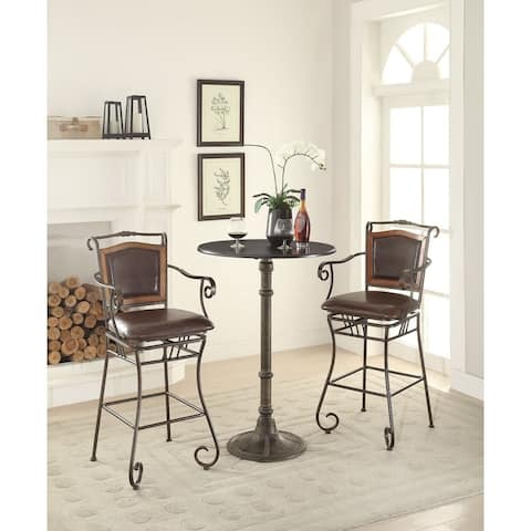 """Coaster Company Wood Accented Faux Leather Bar Stool - 24.50"""" x 22"""" x 45.50"""""""