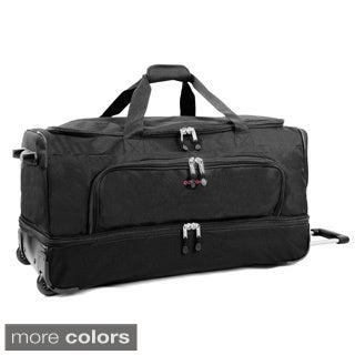 JWorld New York Piton 30-inch Drop Bottom Rolling Duffel Bag