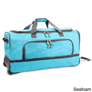 JWorld New York Piton 30-inch Drop Bottom Rolling Duffel Bag (Option: Turquoise)