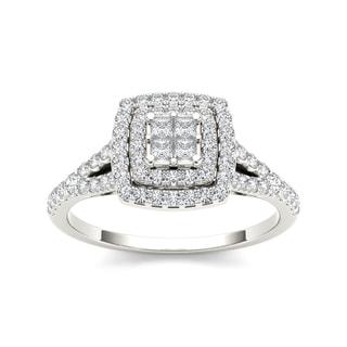 De Couer 10k Gold 1/2ct TDW Diamond Double Square Halo Engagement Ring