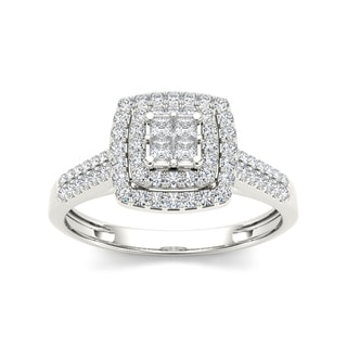 De Couer 10k Gold 1/2ct TDW Diamond Double Halo Engagement Ring