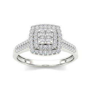 De Couer 10k Gold 1/2ct TDW Diamond Double Halo Engagement Ring (Option: White Gold)