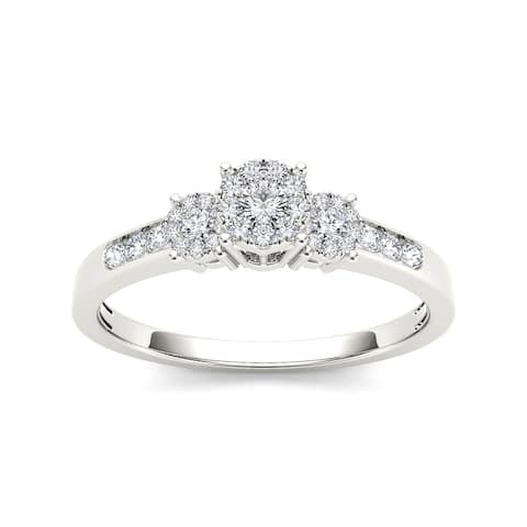 De Couer 10k White Gold 1/3ct TDW Diamond Trilogy Imperial Engagement Ring