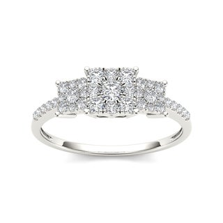 De Couer 10k Gold 1/2ct TDW Diamond Three Cluster Engagement Ring