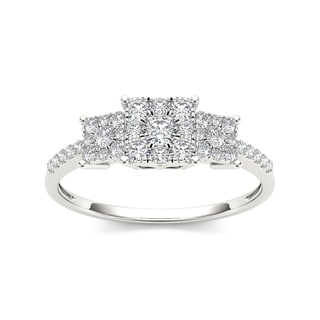 De Couer 10k White Gold 1/2ct TDW Diamond Three Cluster Engagement Ring (H-I, I2)