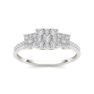 De Couer 10k Gold 1/2ct TDW Diamond Three Cluster Engagement Ring (More options available)