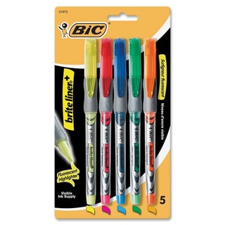 BIC Brite Liner Assorted Chisel Tip Highlighters (Pack of 5)