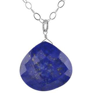 Ashanti Sterling Silver Fine Natural Lapis Lazuli Gemstone Handmade Necklace (Sri Lanka)