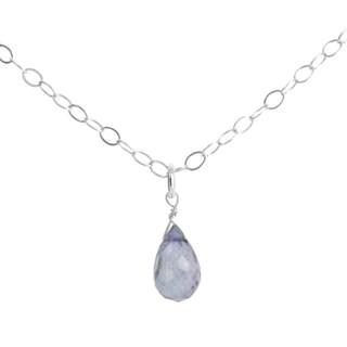 "Blue Denim Quartz Briolette Gemstone Sterling Silver Handmade 18"" Necklace. Ashanti Jewels"