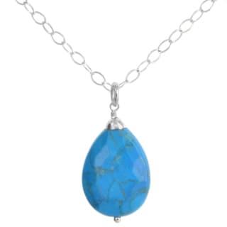 Ashanti Sterling Silver Turquoise Howlite Briolette Gemstone Handmade Necklace (Sri Lanka)