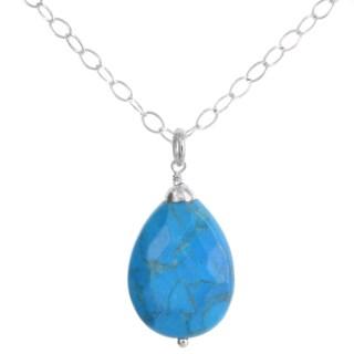 Handmade Ashanti Sterling Silver Turquoise Howlite Briolette Gemstone Handmade Necklace (Sri Lanka)
