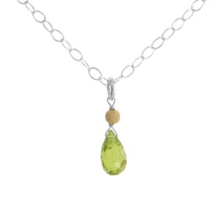 Ashanti Sterling Silver Faceted Peridot Briolette Gemstone Handmade Necklace (Sri Lanka)