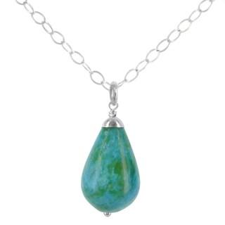 Handmade Ashanti Sterling Silver Aqua Blue Ocean Jasper Gemstone Handmade Necklace (Sri Lanka)