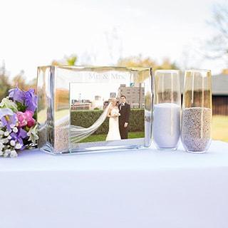 Mr. & Mrs. Sand Ceremony Photo Vase Unity Set