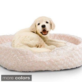 Paw Plush Round Pet Bed with Removable Cushion