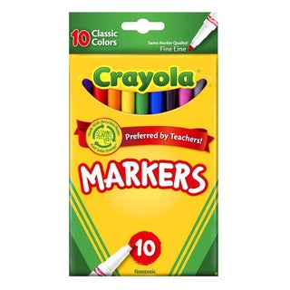 Crayola Classic Fine Tip Washable Markers (Pack of 10)