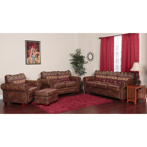 Pine Canopy Belmore Brown Tapestry Sierra Mountain Lodge 4-piece Sofa Set