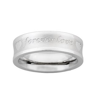 Stainless Steel 'Forever Love' Engraved Band