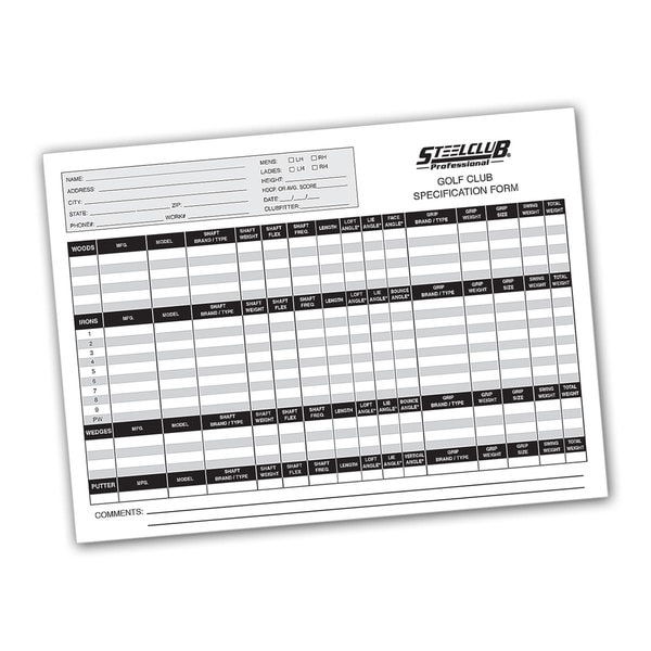 Golf Club Specification Forms