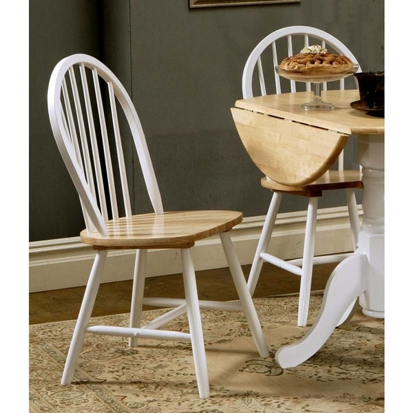Great Hania 2 Tone Windsor Spindle Back Dining Chairs (Set Of 4)