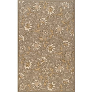 Handmade European Floral Light Grey Wool Rug (5 x 8)