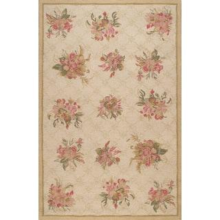 Handmade Modern Floral Beige Wool Rug (5 x 8)