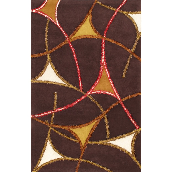 Handmade Geometric Design Brown Wool Rug - 5 x 8