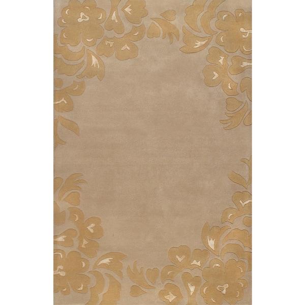 Handmade Morden Floral Beige Gold Wool Rug (5 x 8)