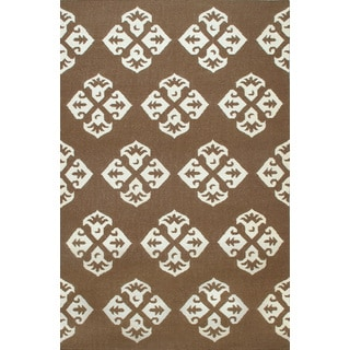 Hand-woven Moroccan Dhurrie Brown Wool Rug (8' x 10')