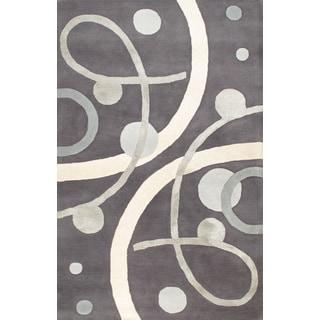 Handmade Tufted Grey Wool Silk Rug (5 x 8)