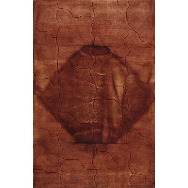 Handmade Kinetic Morden Peach Brown Wool Rug (5 x 8)
