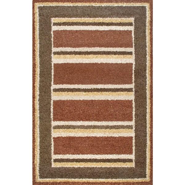 Handmade Brown Beige Wool Rug - 5 x 8