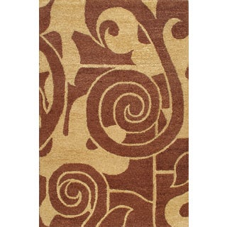Handmade Keno Swoop Brown Wool Rug (5 x 8)