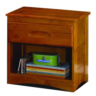 Solid Pine Honey Wood 1-drawer Night Stand with Unique Framed Detail Sides and Beveled Top